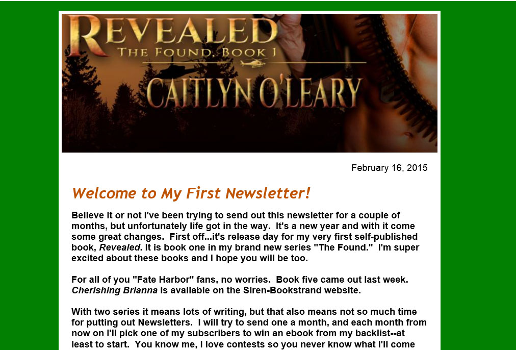 newsletter, caitlyn o'leary, first, february, books, author, fate harbor, the found, revealed, forsaken, cherishing brianna, news, contests